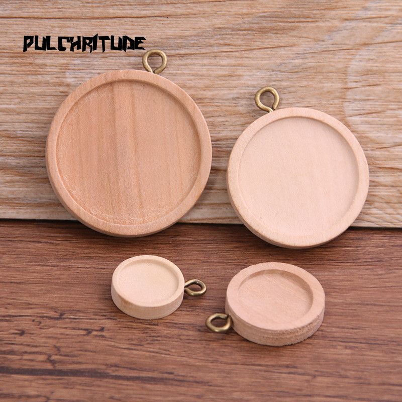 PULCHRITUDE 6pcs 12/15/25/30mm Inner Size Wood Color Round Wood Cabochon Base Setting Charms Pendant Necklace Findings
