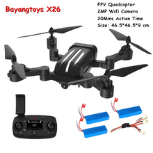 Bayangtoys X26 Foldable Drone with 2MP Quadrocopter Dron 20mins Flight Time Helicopter RC Quadcopter with Camera VS VISUO XS809S