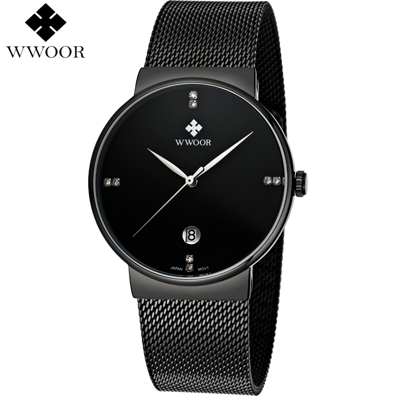 Top Luxury Men's Watch Waterproof Stainless Steel Wristwatch Male Sports Watches Quartz Watch Men Famous Brand WWOOR Black Clock bailishi top luxury brand men watches diamonds hour stainless steel sports wrist watch male causal quartz male watch waterproof