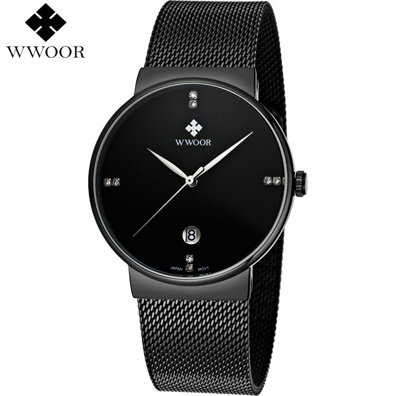Prix pour Top de luxe hommes de montre étanche en acier inoxydable montre-bracelet hommes sport montres quartz montre hommes célèbre marque wwoor noir horloge