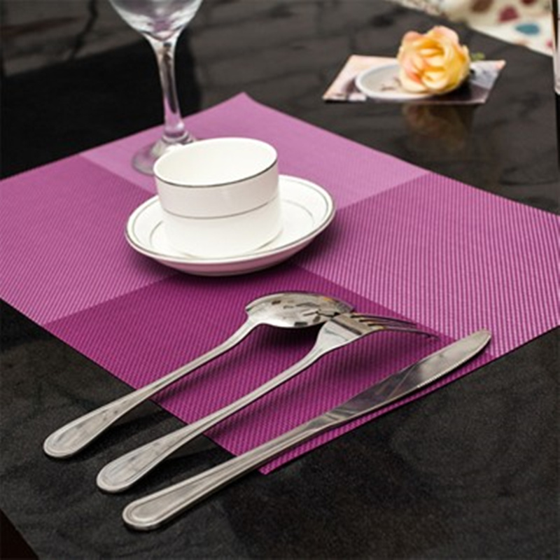 4pcs Waterproof Square Placemat Dining Table Mats Western pad cup and dishes mat Tableware Utensil Restaurant Catering Supplies
