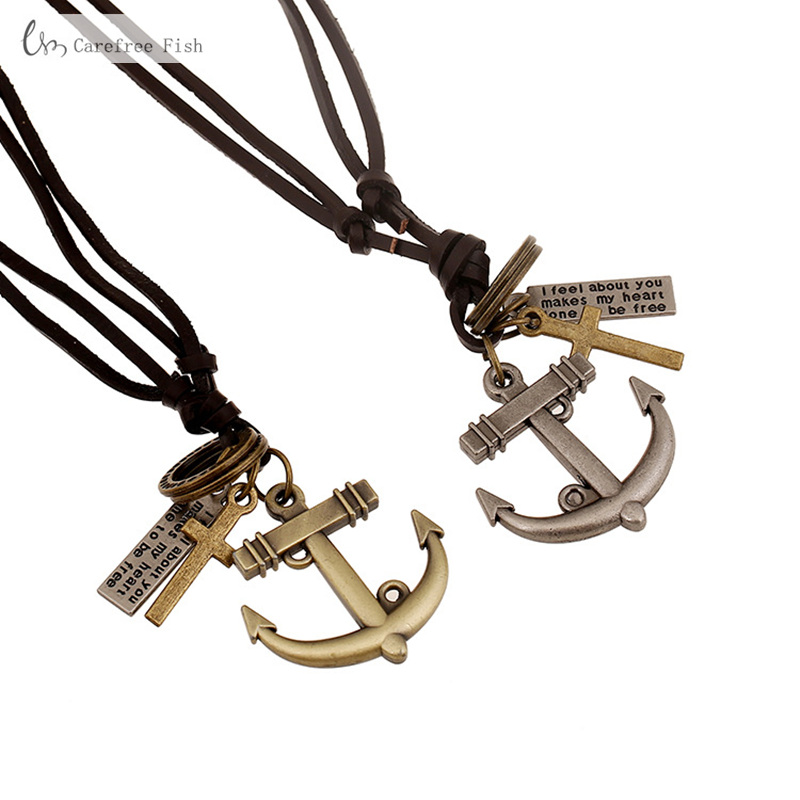 Modeschmuck Halsketten & Anhänger Men Fashion Jewelry Anchor Necklace Cross Pendants Necklaces Men Genuine Leather