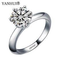 Скидка 95%! Штамп 18krgp кольца из белого золота для Для женщин 8 мм 2 карат кубического цирконий; для помолвки обручальные кольца Полные размеры