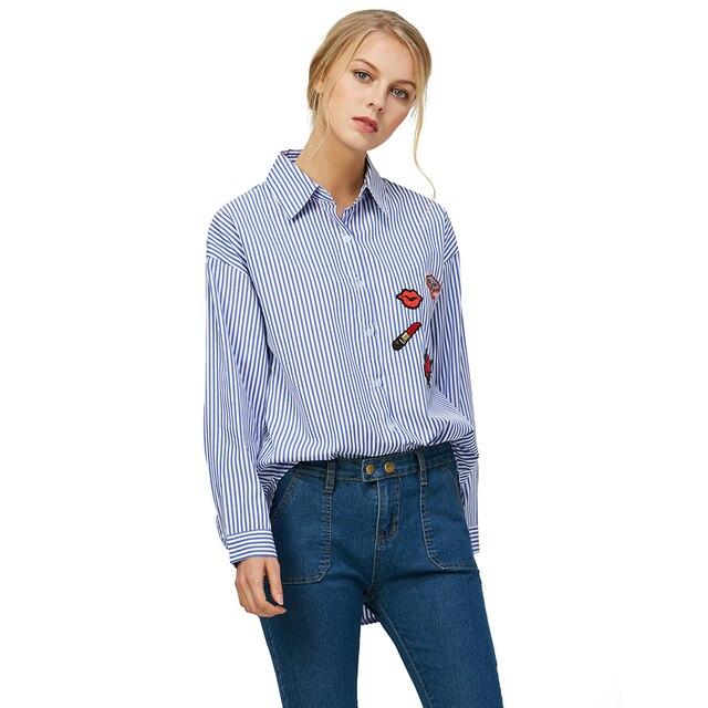 739afadbbe Kenancy Mulheres Bordado Floral Blusas de Manga Longa Plus Size Camisas  Casual Camisa Listrada Blusa Slipt