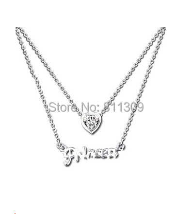 925 Sterling Silver Personalised Name Necklace Princess Style Heart Necklace