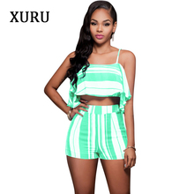 XURU Two Piece Beach Jumpsuit Rompers Striped Printed Ruffle Strap Casual Romper Womens Short Jumpsuit 2 Piece Set 7 Colour недорого