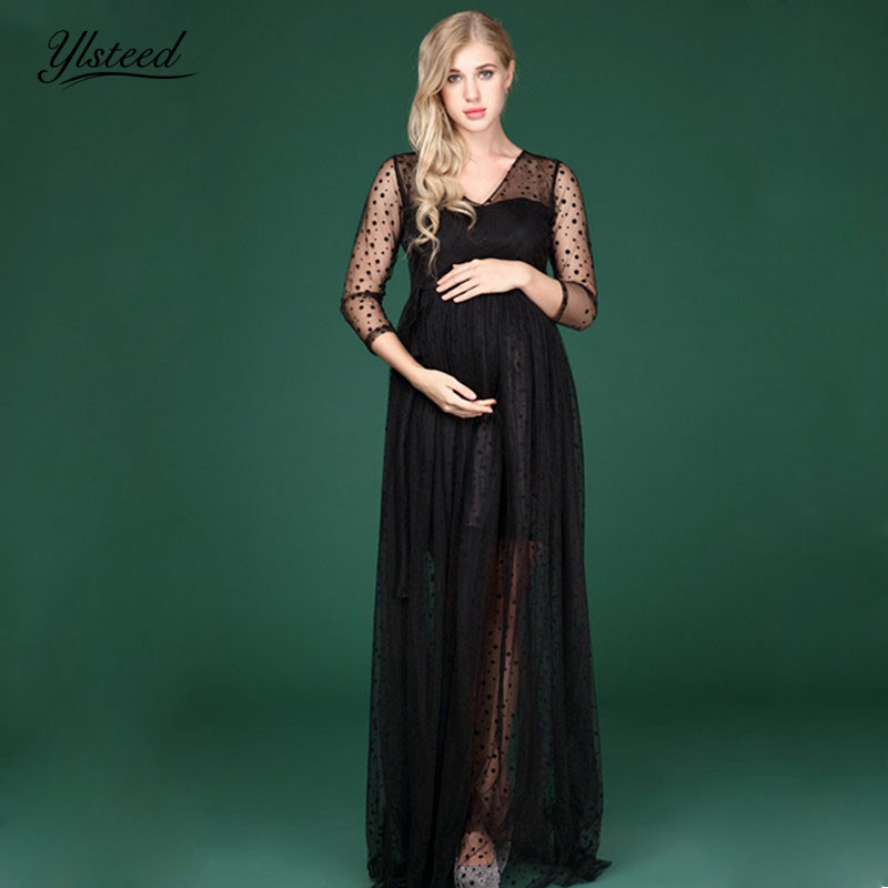 Maternity Photography Props Lace Mesh Maternity Dresses fpr Photo Shoot Sexy V-neck Black Dot Pregnancy Dress Photography black v neck floral embroidered mesh bodysuit