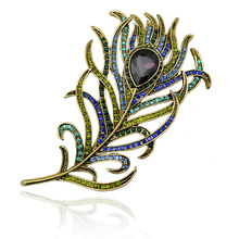 Antique Gold Tone Metal Feather Brooch Pin Crystal Rhinestone Scarf Accessory Vintage Jewelry 2016