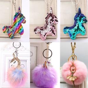 Kawaii Unicorn Plush Toys Fluffy Fur Pom Pom Metal unicornio Keyring Women Girls Bag Hang Pendant Kids Birthday Easter Gift Toy