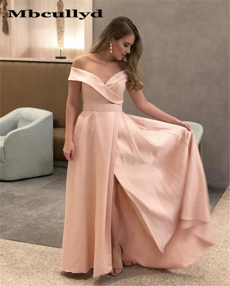 Mbcullyd Pink Off Shoulder   Prom     Dresses   Long 2019 Deep V Neck A-line Evening   Dress   Party For Women Cheap Plus Size Party Gowns