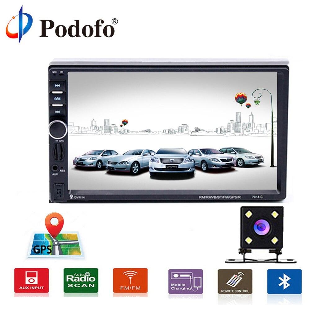 Podofo 2 Din 7 автомагнитолы плеер сенсорный мультимедийный плеер Автомобильный Радио gps плеер Bluetooth автомобильный аудио с камерой заднего вида ...