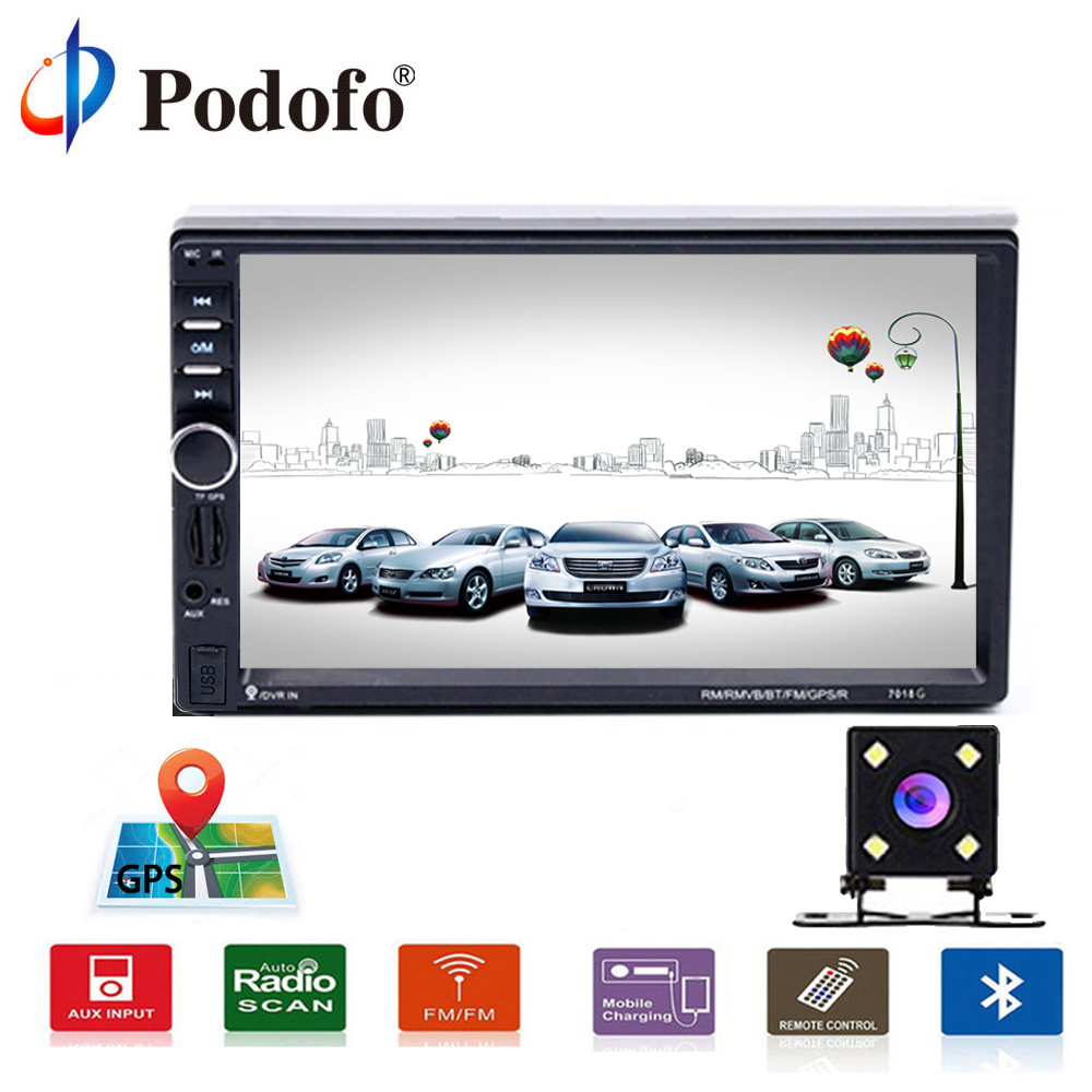 Podofo 2 Din 7 Car Radios Player Touch Multimedia Player Car Radio GPS Player Bluetooth Car Audio With Rear View Camera 7018G