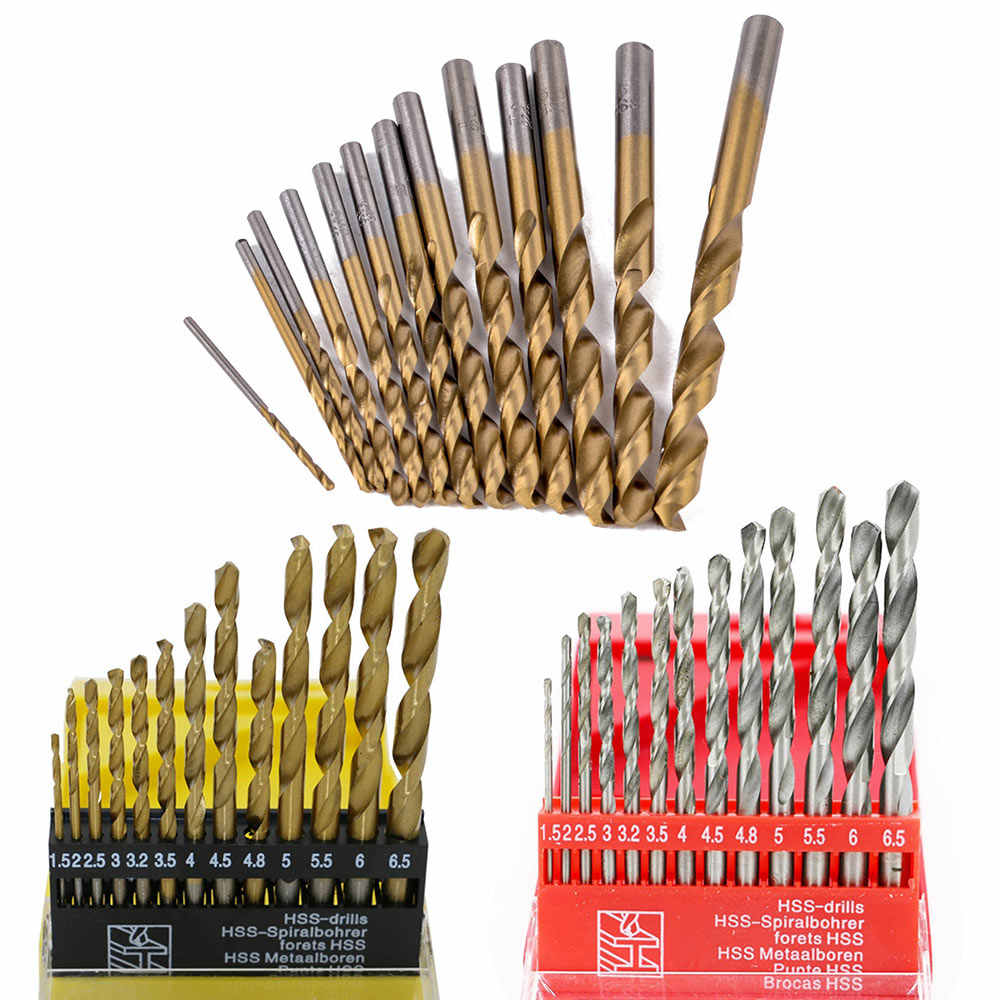13PCS1.5-6.5mm Round Shank Twist drill bit Woodworking HSS Coated Titanium Coated Twist Drill Bit Set For Wood Copper Metal Tool