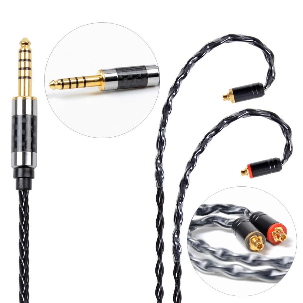 NICEHCK MMCX/2Pin złącze 4.4/3.5/2.5mm wyważone 8 rdzeń Plated srebrny kabel dla SE846 TFZ TRN V90/V80 ZS10 AS10 CCACA4/C10