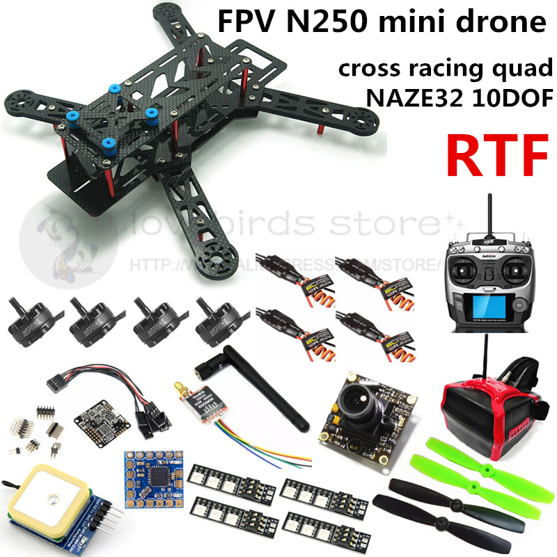 FPV N250 quadcopter mini drone NAZE32 10DOF + 2204II 2300KV motor + AT9 remote control + 700TVL camera + HEAD display + GPS RTF