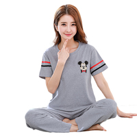 7002 Short Sleeve Cute Sleepwear Cotton Plus Size Sleeping Wear Pijama Ropa Interior Lingerie Dress Camisa Dormir Sleep Clothes