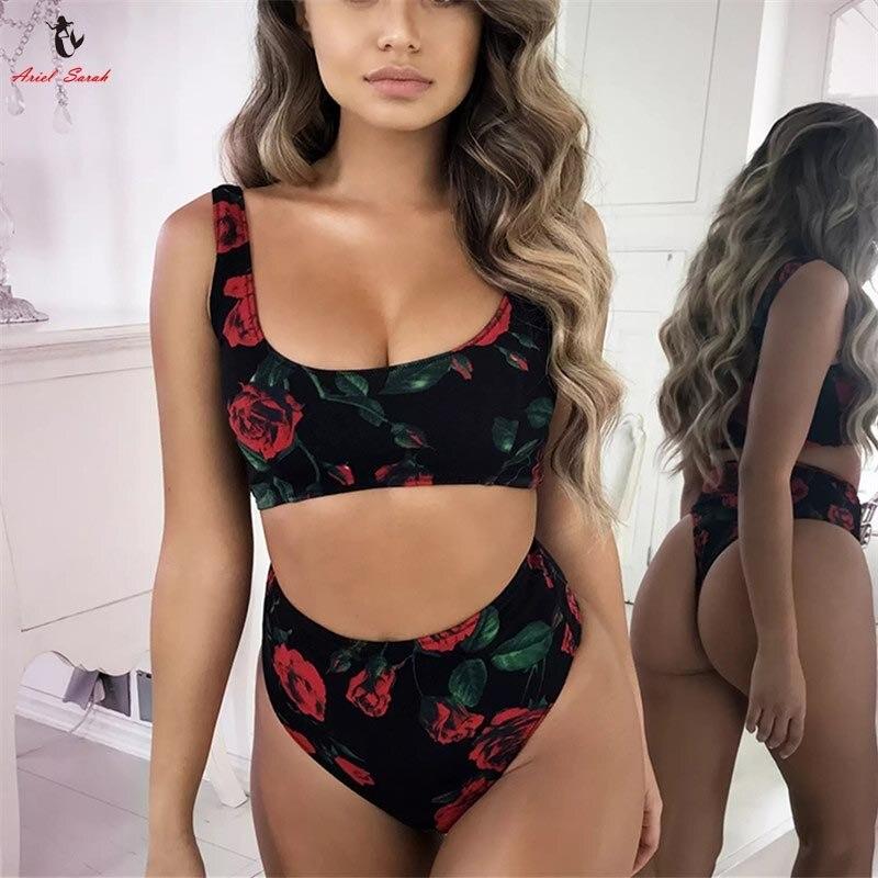 Ariel Sarah 2018 alto cuello Bikini alta cintura traje de baño mujeres Bikini Floral Set de baño atractivo Rose impresión Bikini Halter Biquini