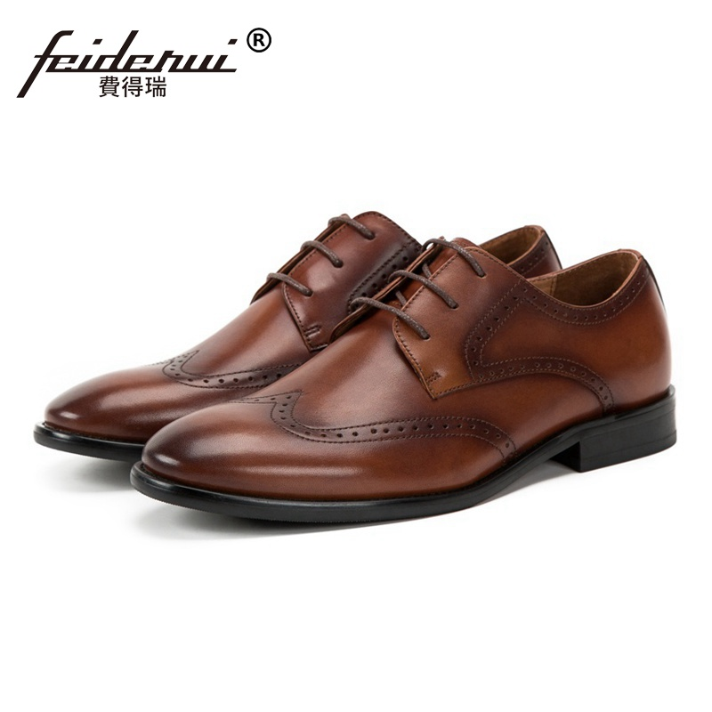 British Style Round Toe Man Formal Dress Wingtip Brogue Shoes Genuine Leather Carved Men's Handmade Wedding Party Footwear SS220