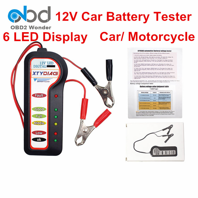 New Released Xtydiag 12v Car Battery Tester 6 Led Digital Auto Voltage Testing Tool For Motorcycle Retailing Box