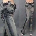 Envío libre 16 del laciness de la moda punky de la roca más tamaño delgado skinny jeans de mezclilla pantalones flare stretch patchwork borlas pantalones xxl