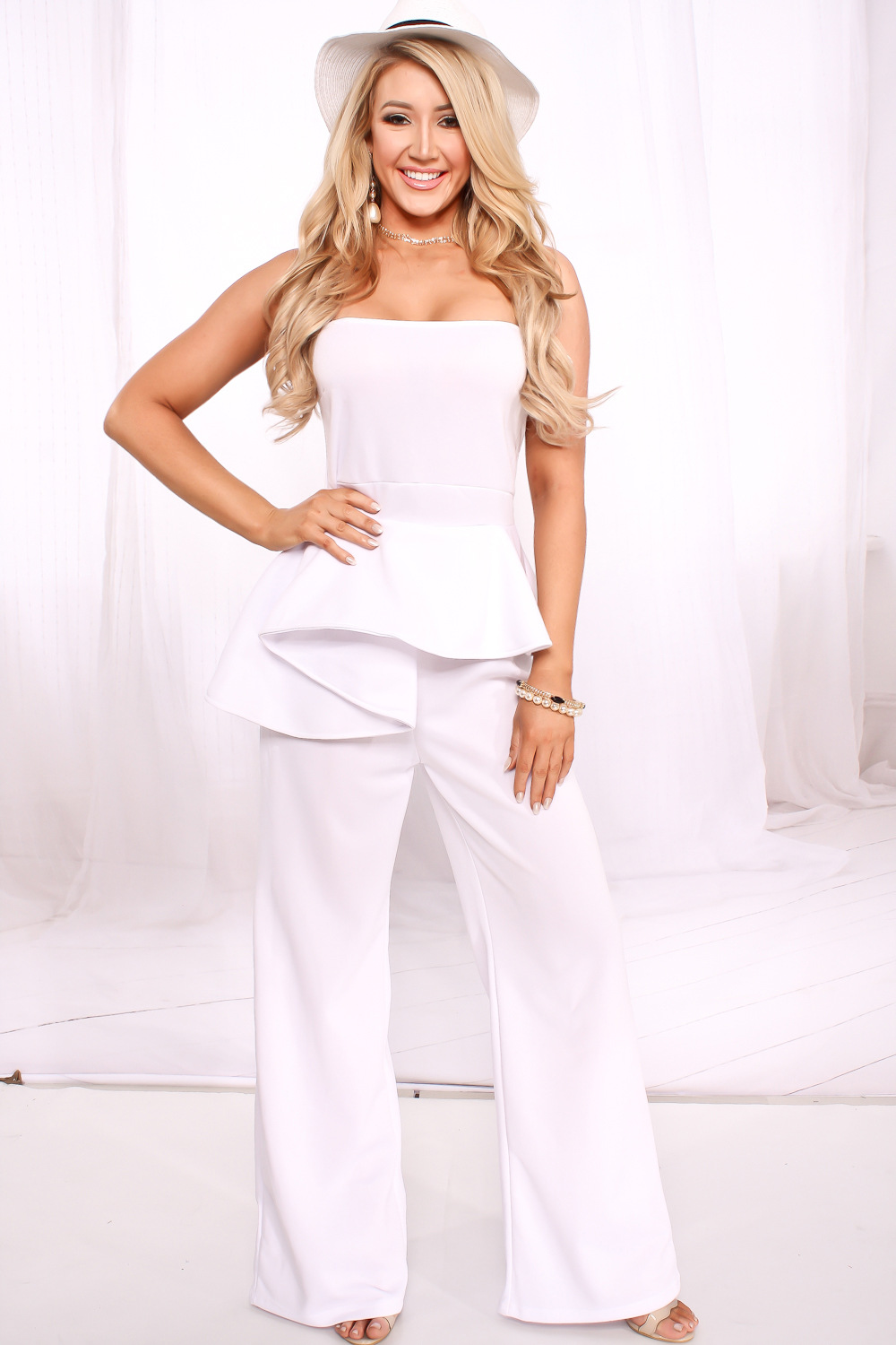 a9724bdd8dd Women Black White Peplum Jumpsuits Sexy Off Shoulder Strapless Club  Jumpsuits Nightout Wear Backless Full Length Jumpsuits-in Jumpsuits from  Women s ...