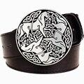 Patrón de personalidad de Los Hombres cinturón de cuero hebilla de metal horse totem tendencia mujeres de la correa cinturones de punk rock vintage jeans vaquero