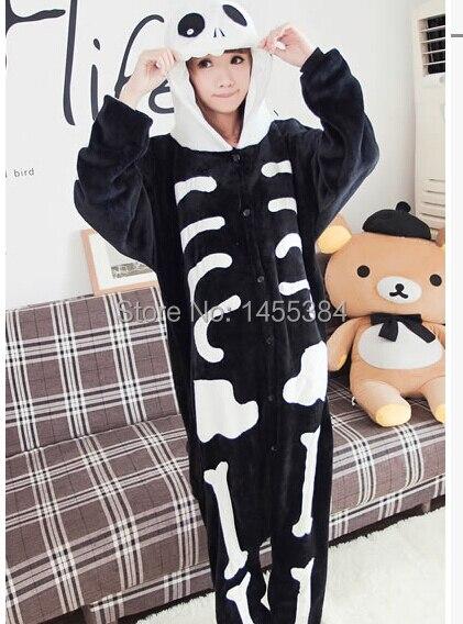 011a701f98 Flanella inverno di Un pezzo Pigiama Scheletro di Animale Onesies Anime  Cosplay Del Fumetto Coppie Costume