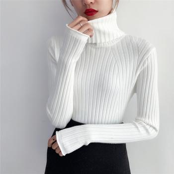 2020 grube ciepłe damskie swetry z golfem zimowe damskie swetry i swetry z dzianiny z długim rękawem sweter z kaszmiru sweter damski topy tanie i dobre opinie OHCLOTHING COTTON 95 cotton Szydełkowane Stałe Krótki Skręcić w dół kołnierz Wzruszenie ramion Połowa Puff rękawem