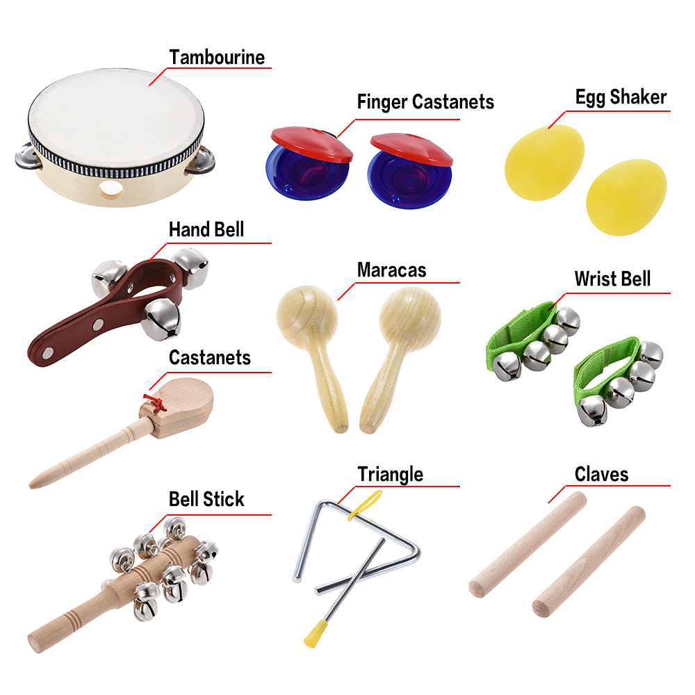 10pcs musical instruments percussion toy kit rhythm band set