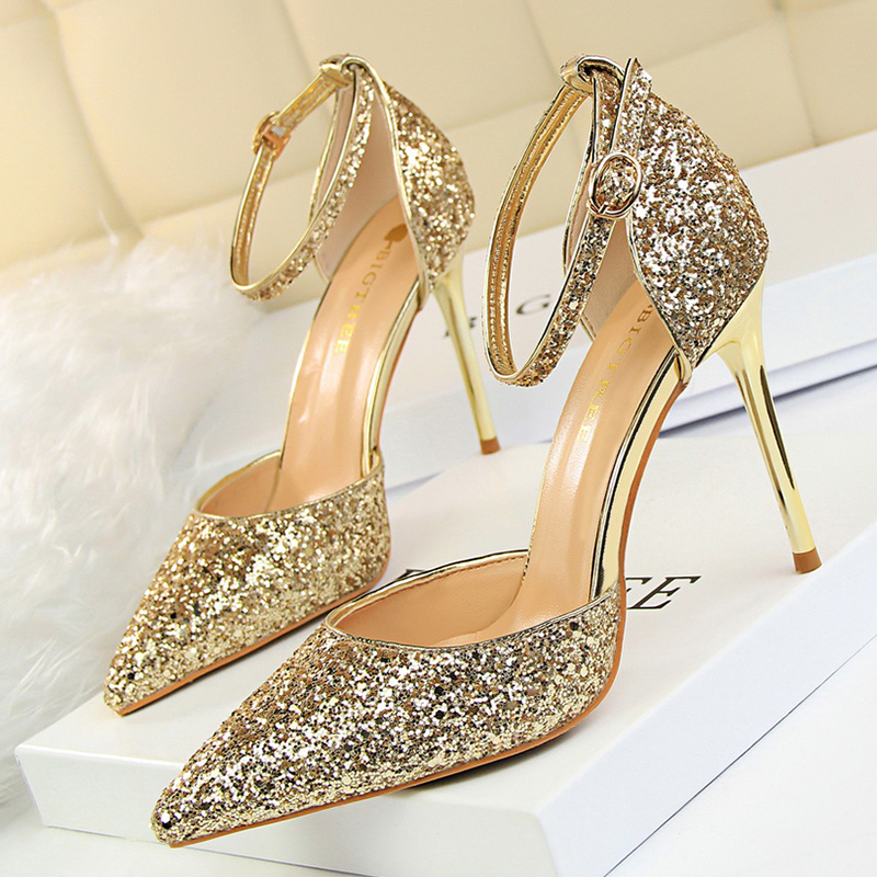 Women Pumps Bling Sequin Women Heels Shoes Female Sexy Openwork Wedding Party High Heels Ankle Strap Pumps Shoes 283-1