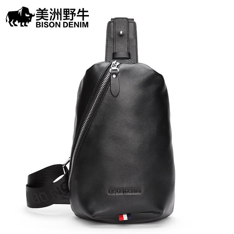 2017 BISON DENIM Brand Men Messenger Bag Cowhide Shoulder Bags Men's Beach Bag Travel Casual Riding Multifunctional Chest Pack bison denim vintage designer 100