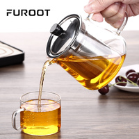 FUROOT Heat Resistant Small Glass teapot With Stainless Steel Tea Infuser Turkish Samovar Borosilicate Glass Tea Accessories