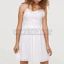 Cuerly cute cotton emboridery dress women party lace ruffle halter dress 2019 summer skater mini dress L5