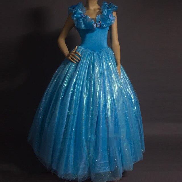 Sandy Princess Cinderella Women Blue Dress Cosplay Costume Adult Cosplay Gift
