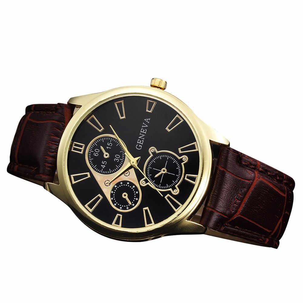 Mode rétro Design bande de cuir alliage Quartz montre-bracelet affaires montres hommes marque de luxe Sport numérique Relogio Masculino
