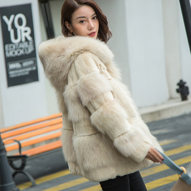 92e77b0a3f5 New style Hooded Women Warm Real Fox Fur and Rex rabbit fur coat Winter Fur  Jacket Outerwear Natural Blue Fox Fur Coats for Wome