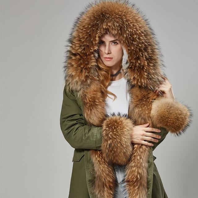 Мода 2017 г. женские кроличий мех внутри с капюшоном длинное пальто парки и пиджаки Army Green большой енота меховым воротником зимняя куртка DHL