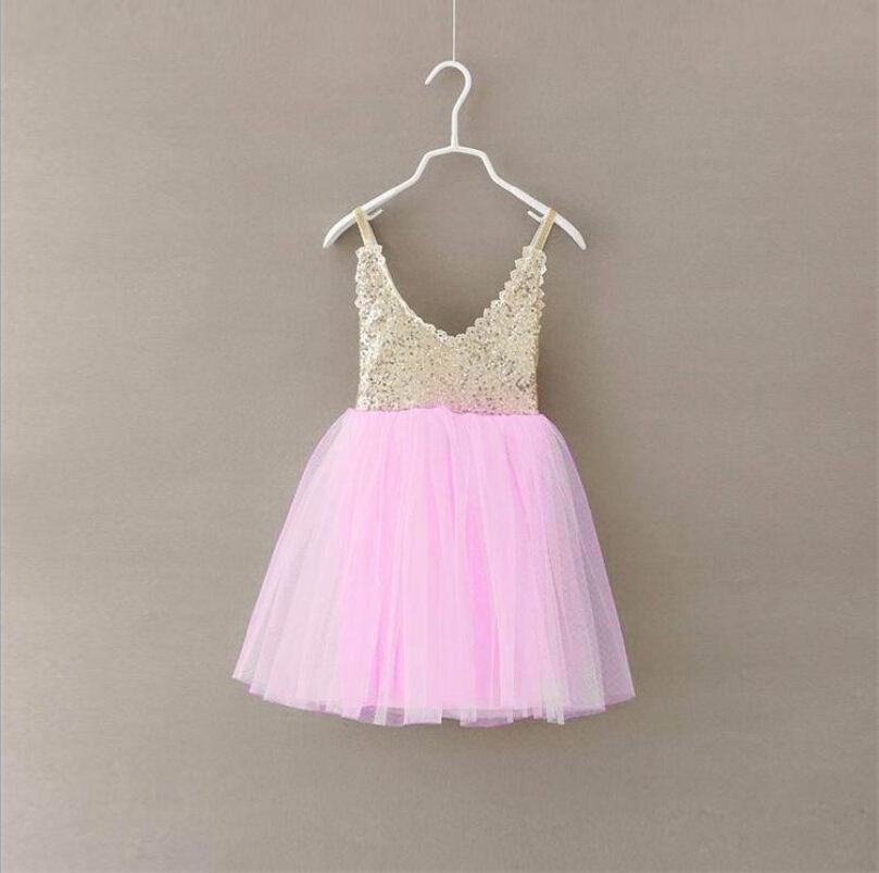 New  Baby Girls Lace Sequined Mesh Tutu Sling Dresses, Princess Kids Sweet Candy Color  Party Clothing   5 pcs/lot, Wholesale