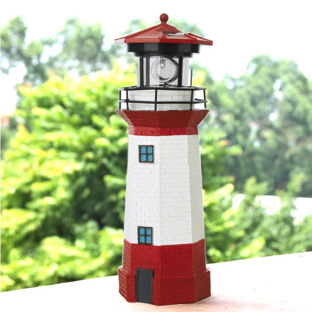 Solar Power LED Lighthouse Light with Rotating Light Beam 29CM Home Garden Decoration Fence Lawn Lamp Fairy Light