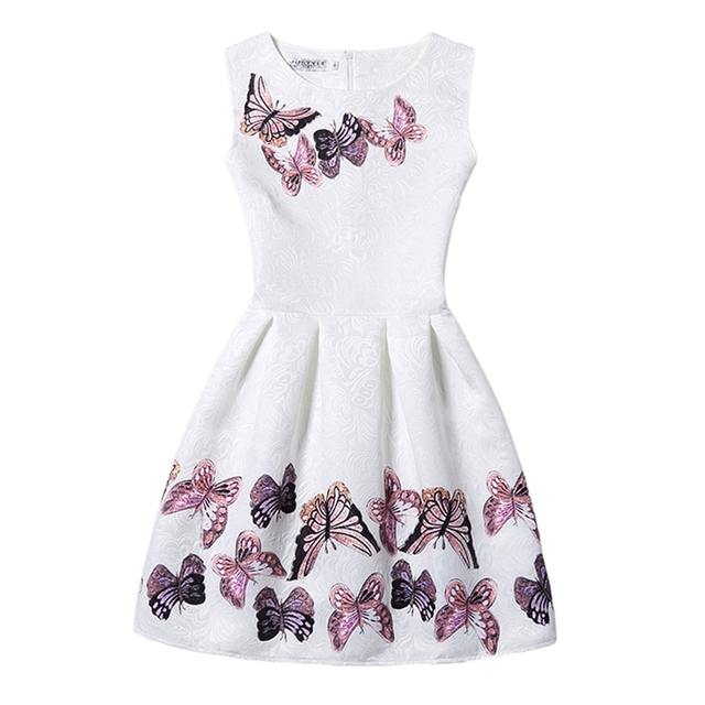 Muchachas de flor Vestido de Verano 2016 Sin Mangas Ocasional de La Vendimia Vestidos de Impresión De La Mariposa Floral Vestidos de Fiesta Adolescente 11-20 Años GD28