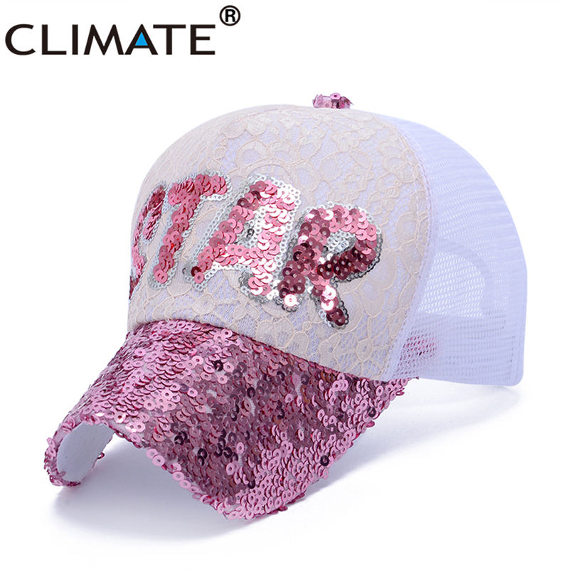 1f61ca6c0883d CLIMATE Youth Girls Pink Cap Summer Women Lady Sequins Paillette Lace Star  Mesh Trucker Caps Shinning Pretty Party Club Nice Hat-in Baseball Caps from  ...