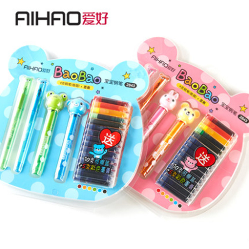 AIHAO Brand Cute Design Animal Exchange Ink Fountain Pen Smooth Writing Stationery for Student 1Set Free Shipping