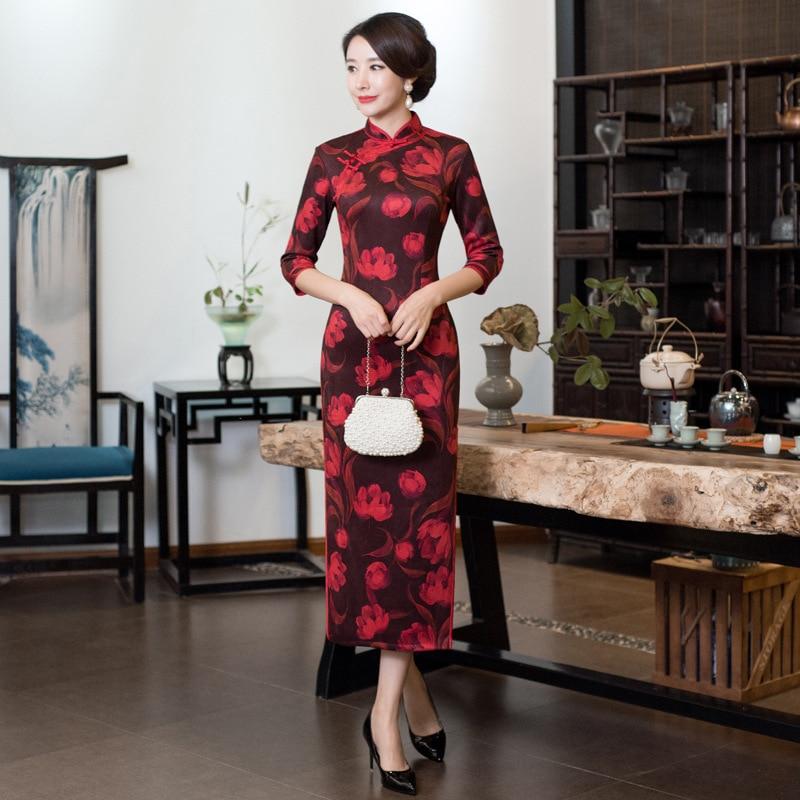Hiver S De Plus 1 2 Style Cheongsam Mode Taille 4 style Robe Qipao 3 style Robes Femmes La Partie Chinois 2018 Long 4xl style Mince Bouton Vintage 00rE7qR