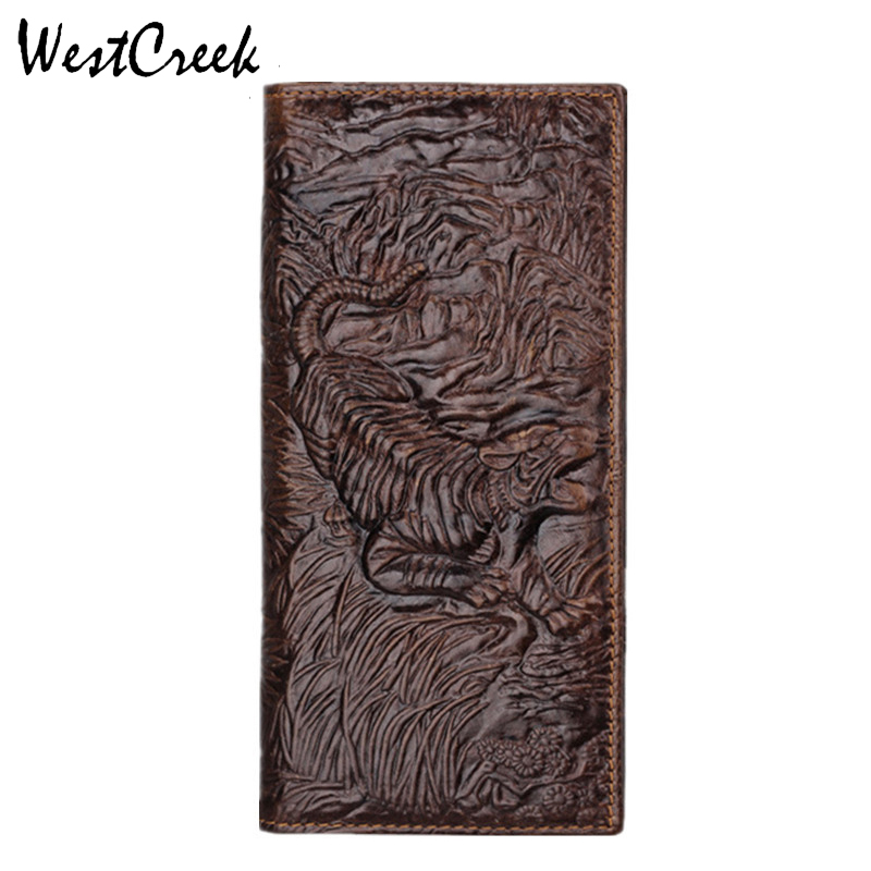WESTCREEK Vintage Унікальний Дизайн Тигр Шаблон Натуральна шкіра чоловічі гаманці Високої якості Натуральна Шкіра Людина Гаманець від GMW011  t