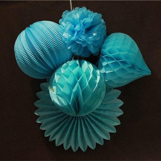 5pcs Sky Blue Kit Wedding Birthday Party Decorations Tissue Paper