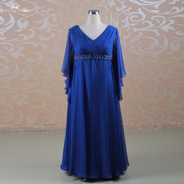 RSE162 Além de Decote Em V Império Cintura Azul Royal Big Size Mulheres Mãe Dos Vestidos de Noiva Com Mangas