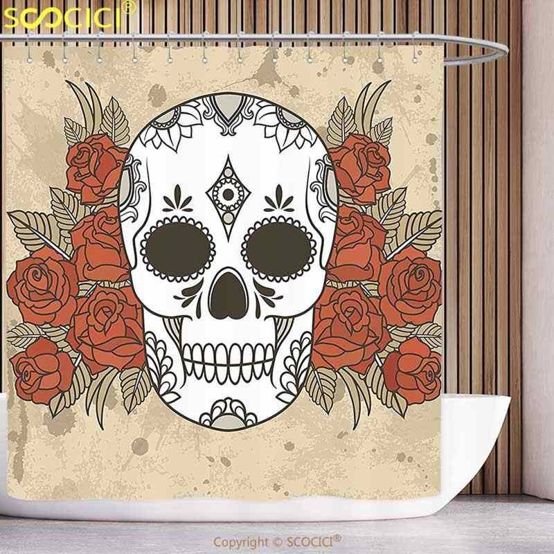 Fun Shower Curtain Skull Skeleton