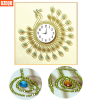 UzeQu Special Shaped Diamond Embroidery Wall Clock Peacock 5D DIY Diamond Painting Cross Stitch 3D Watch