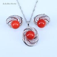 L & B Najniższa Cena Wysokiej Jakości Naturalne Słodkowodne Pearl Jewelry Sets Kobiety Kolor Srebrny Cyrkon Wisiorek Naszyjnik + + kolczyki