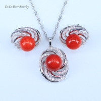 L B Lowest Price High Quality Natural Freshwater Pearl Jewelry Sets Women Silver Color Zircon Pendant